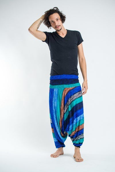 Boho Turquoise Striped Drop Crotch Men's Harem Pants