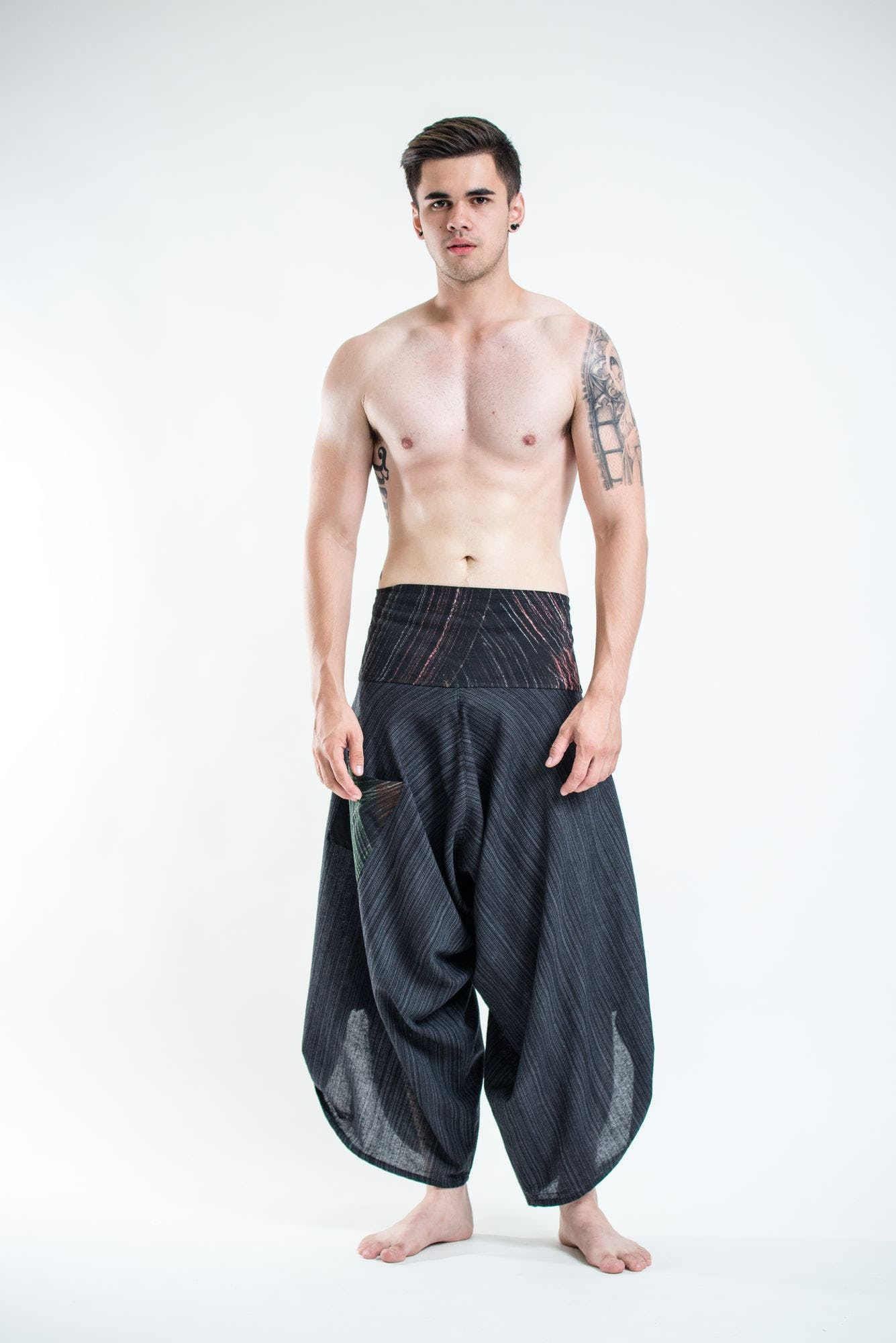 Men S Pinstripe Button Up Cotton Pants With Hill Tribe