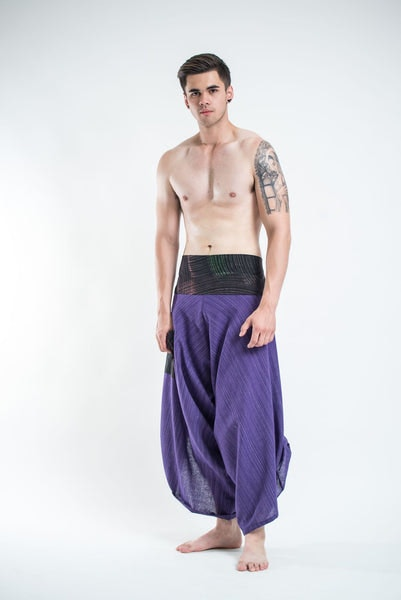 Men's Pinstripe Button Up Cotton Pants with Hill Tribe Trim Violet