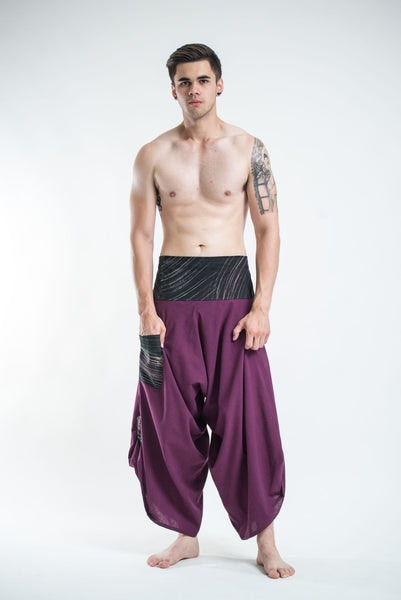 Men's Thai Button Up Cotton Pants with Hill Tribe Trim Purple