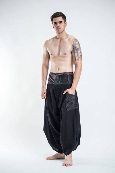 Men's Thai Button Up Cotton Pants with Hill Tribe Trim Black