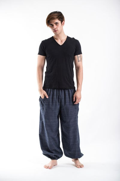 Men's Smocked Waist Pinstripes Cotton Pants in Navy