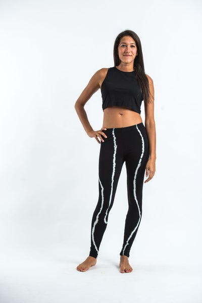 Black Tie Dye Cotton Leggings in Electra White