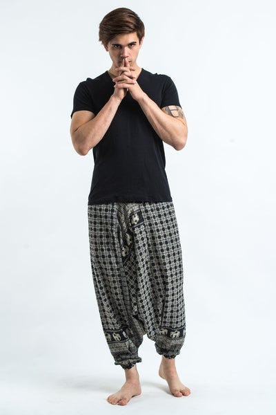 Hill Tribe Elephant Men's Elephant Pants in Black