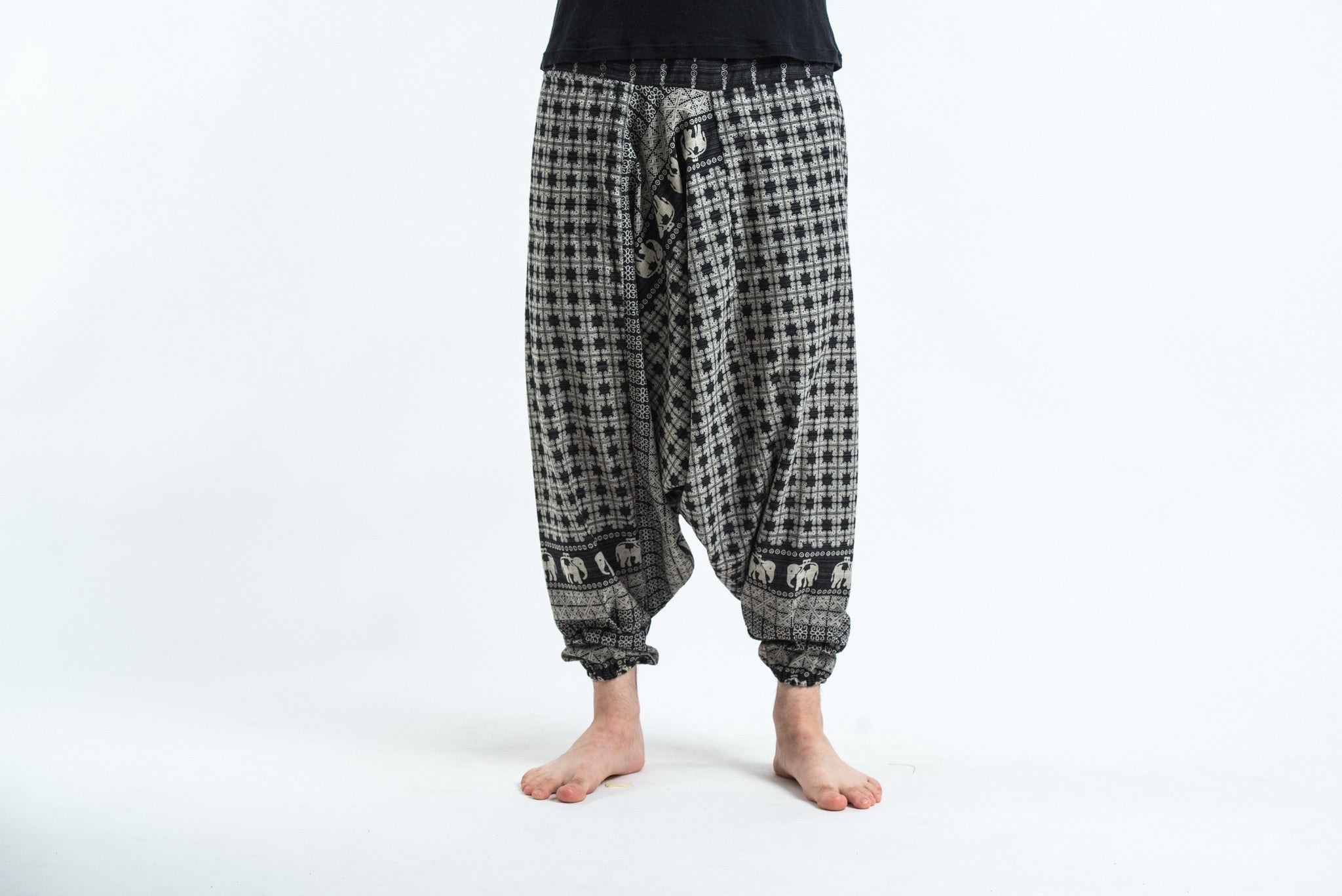 hill tribe elephants men harem pants in black
