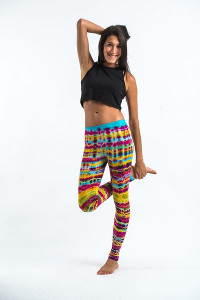 Melting Stripes Tie Dye Cotton Leggings in Trippy Rainbow
