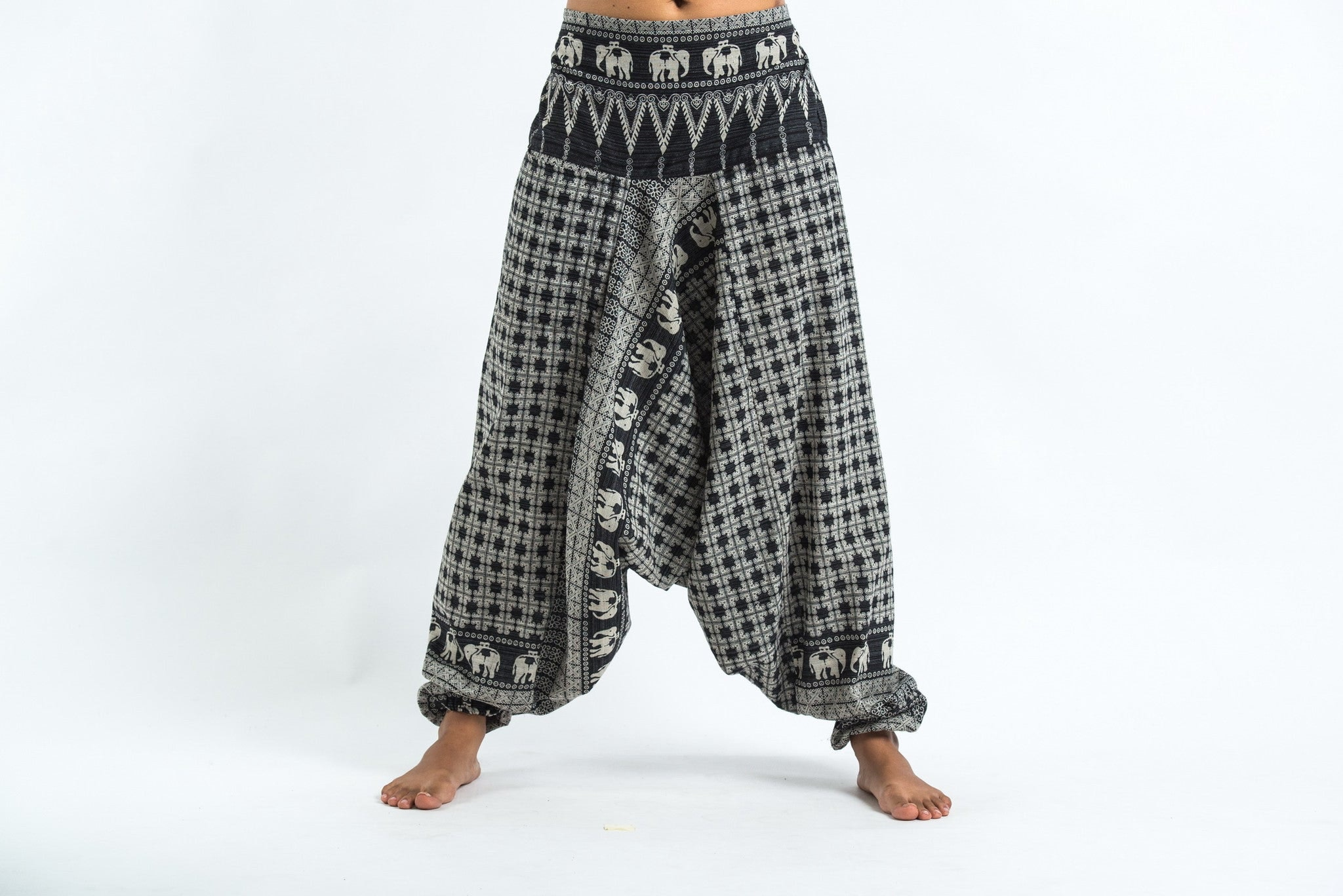 New Hill Tribe Elephants Women Harem Pants In Black