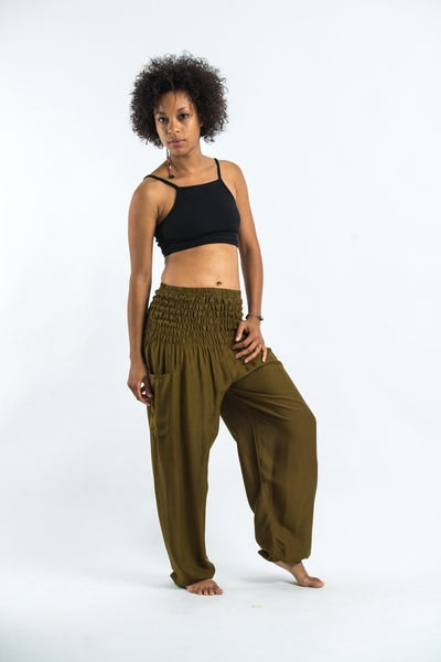 Solid Color Women's Harem Pants in Olive
