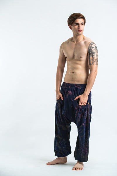 Tie Dye Cotton Men Harem Pants in Navy