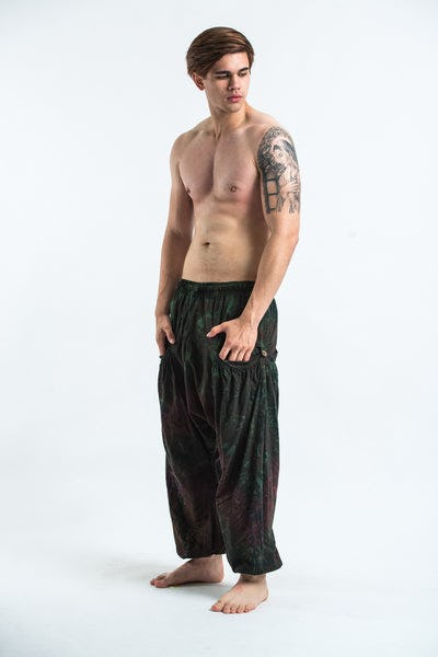 Tie Dye Cotton Men Harem Pants in Dark Teal