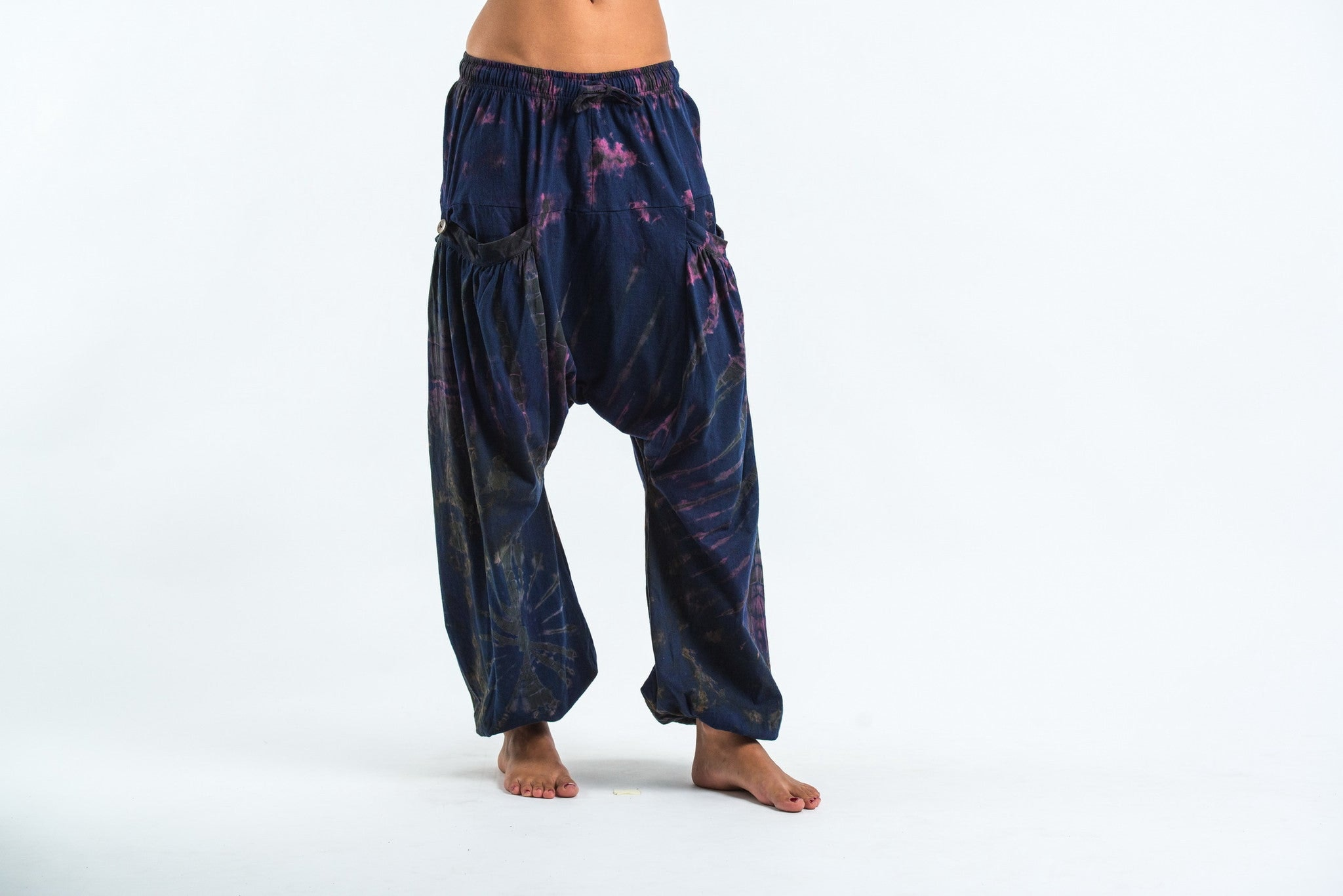 Beautiful Aladdin Pants Known As Harem Or Afghani Trousers Are Very Comfy  100% Cotton, Elasticated Waist With Drawstring, Elasticated Ankles , 2 Pockets 1 Zipped   Unisex Light And Cozy, Suitable For Indoors &amp Outdoors Perfect Wear For