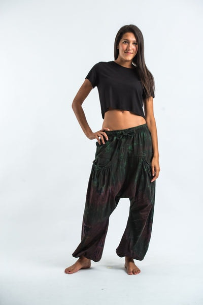 Tie Dye Cotton Women Harem Pants in Dark Teal