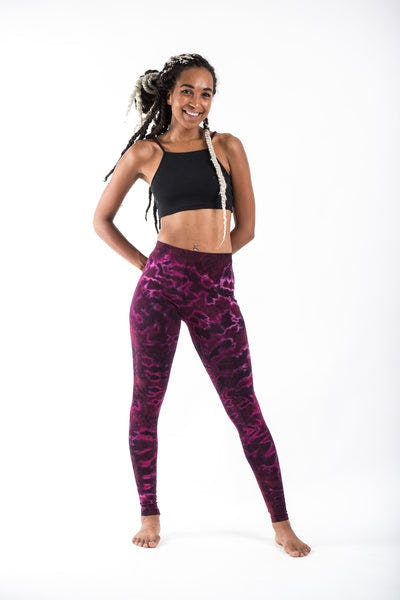 Marble Tie Dye Cotton Leggings in Magenta