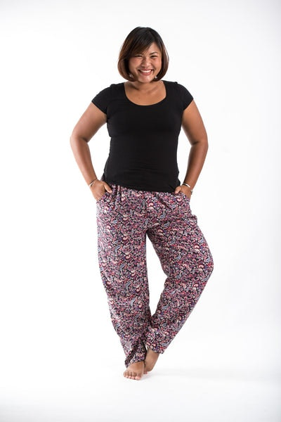 PLUS SIZE Thai Organic Cotton Paisley Black Women's Drawstring Pants