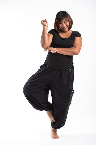 PLUS SIZE Cotton Women Unisex Pants in Black