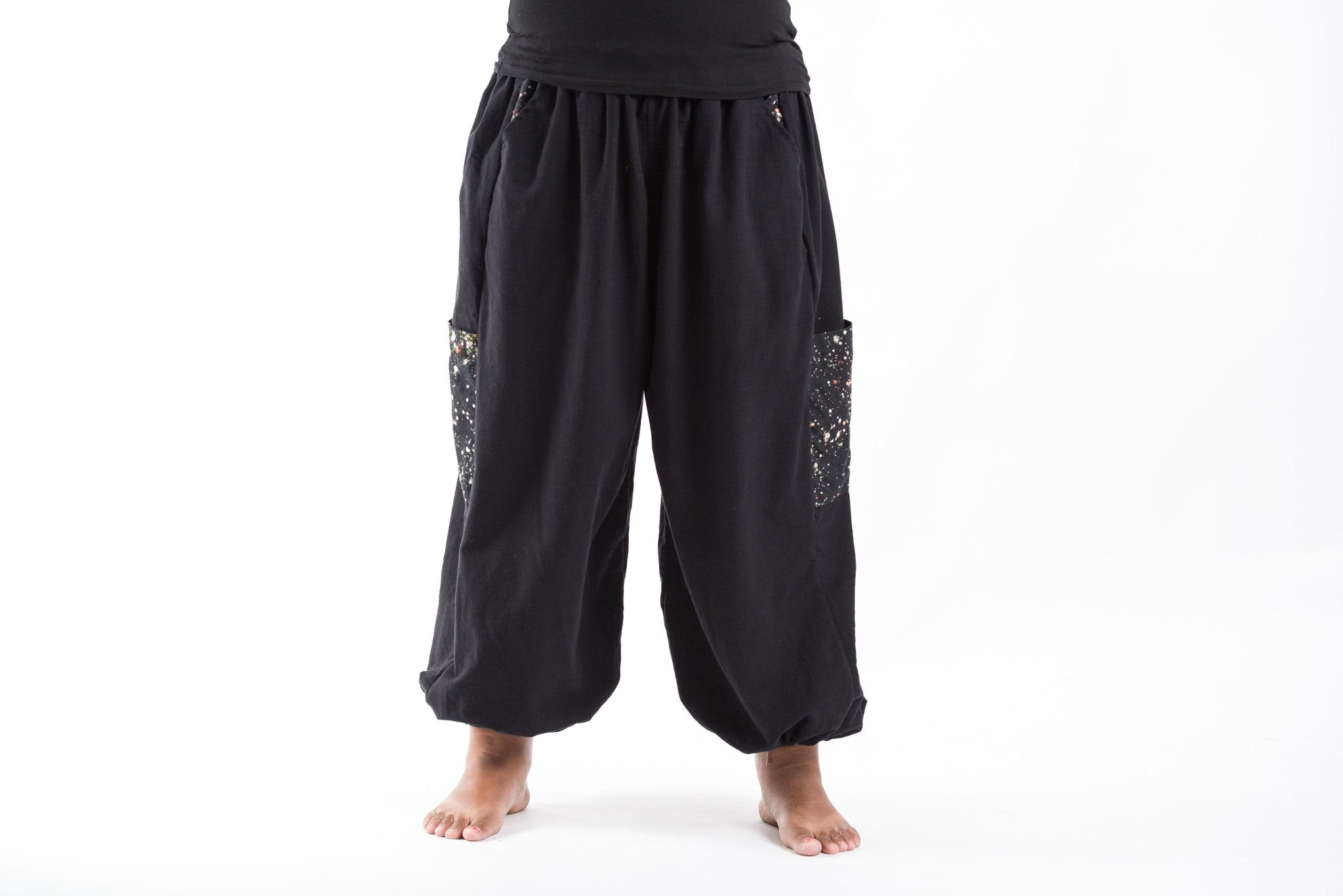 New PLUS SIZE Cotton Women Unisex Pants In Black U2013 Harem Pants