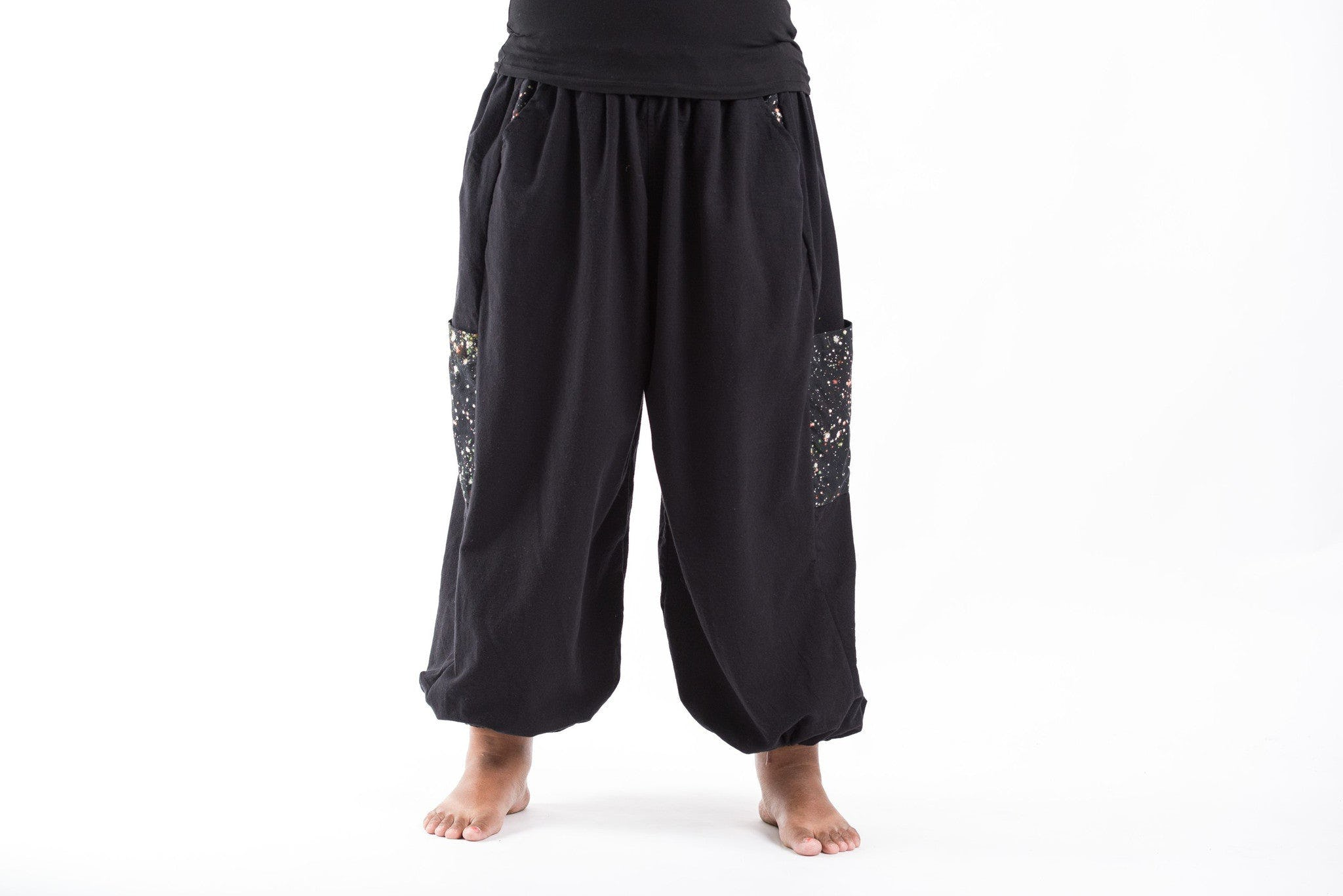 PLUS SIZE Cotton Women Unisex Pants in Black – Harem Pants