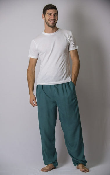 Solid Color Drawstring Men's Yoga Massage Pants in Dark Teal