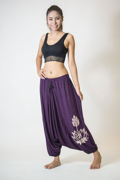 Drawstring Low Cut Harem Pants Cotton Spandex Printed OM Bloom Purple