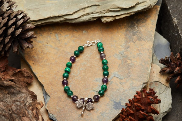 Hand Made Tibetan Dragonfly Mala With Malachite and Amethyst Beads Bracelet