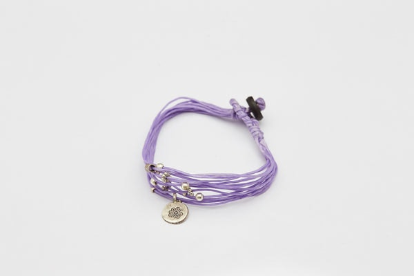 Fair Trade Hand Made Multi Strand Waxed Cotton Bracelet with Silver Beads Purple