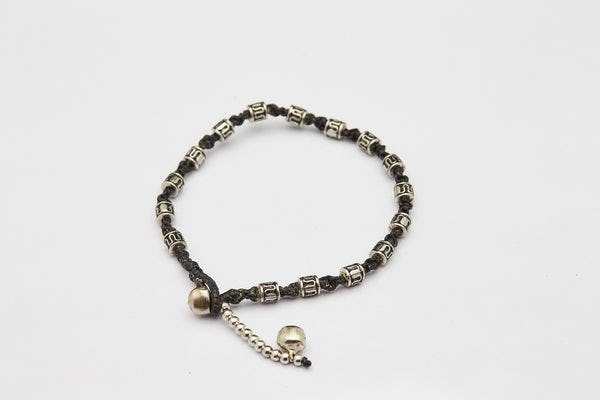 Hand Made Fair Trade Anklet Waxed Cotton Silver Beads Black
