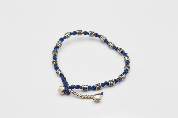 Hand Made Fair Trade Anklet Waxed Cotton Silver Beads Blue