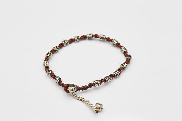 Hand Made Fair Trade Anklet Waxed Cotton Silver Beads Chocolate