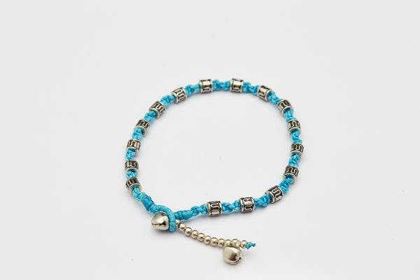 Hand Made Fair Trade Anklet Waxed Cotton Silver Beads Turquoise