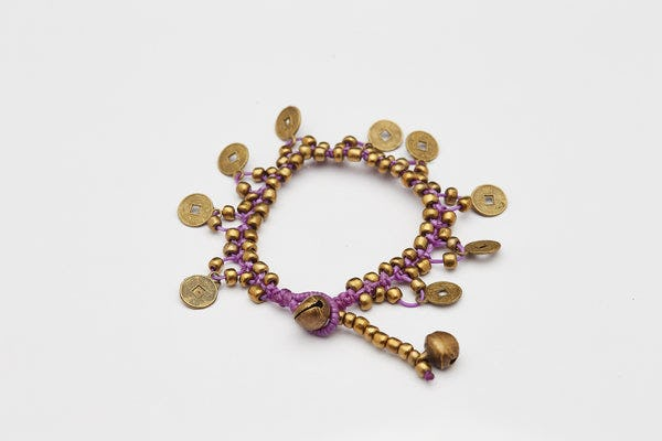 Chinese Coin Waxed Cotton Bracelets in Purple