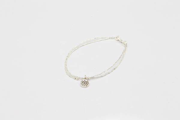 Fair Trade Thai Hill Tribe Silver Bracelet with Lotus Charm