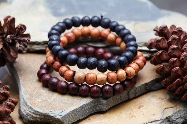Hand Made Set Of 3 Thai Wooden Mala Bead Elastic Bracelets