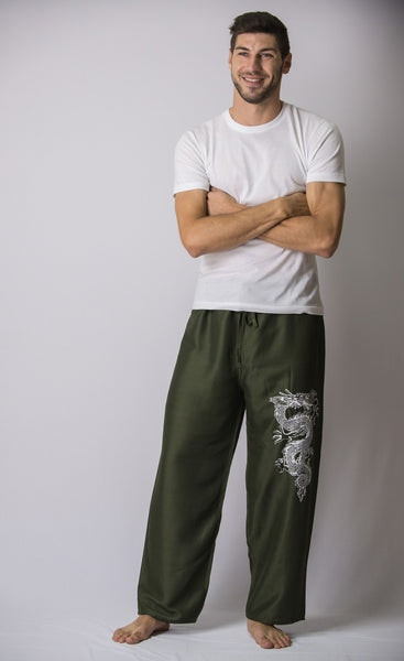 The Dragon Men's Thai Yoga Pants in Green