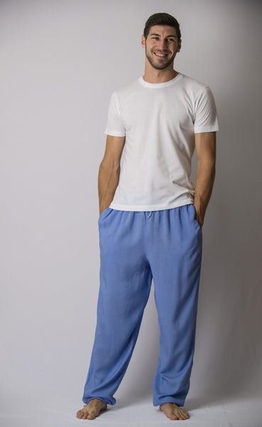 Solid Color Drawstring Men's Yoga Massage Pants in Blue