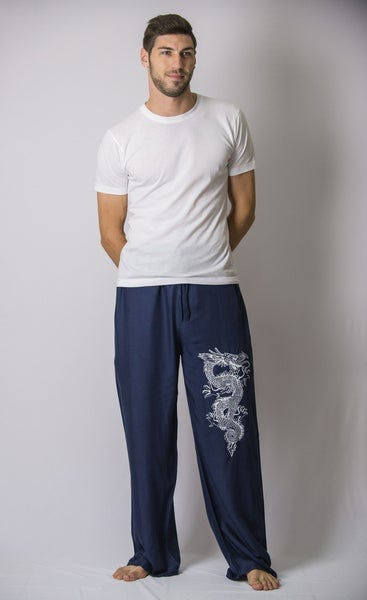 The Dragon Men's Thai Yoga Pants in Navy