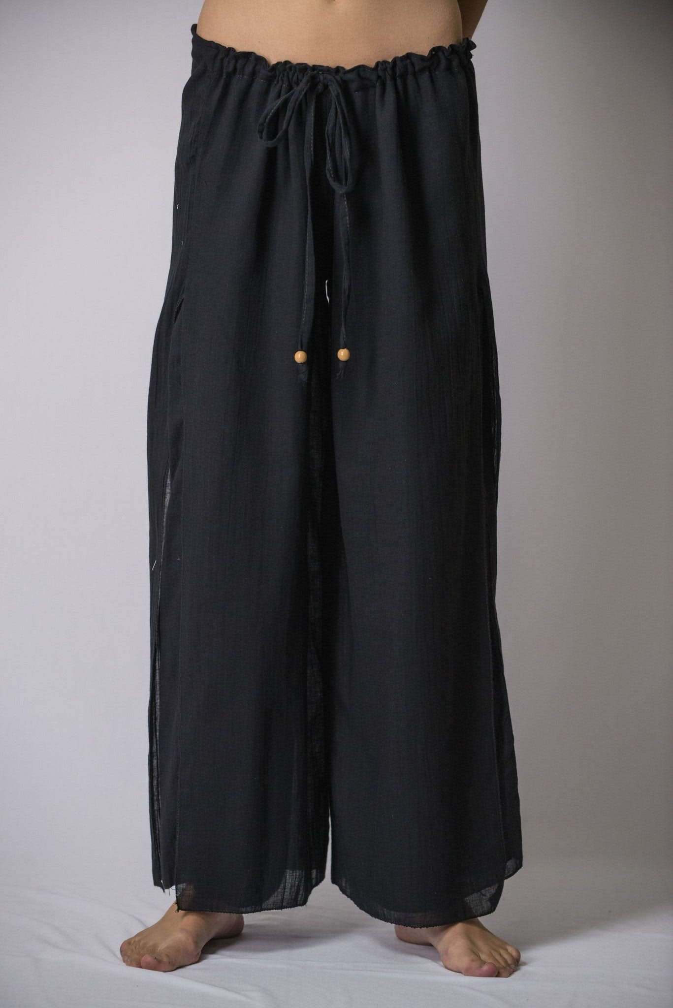 Luxury Womenu0026#39;s Thai Harem Double Layers Palazzo Pants In Solid Black U2013 Harem Pants