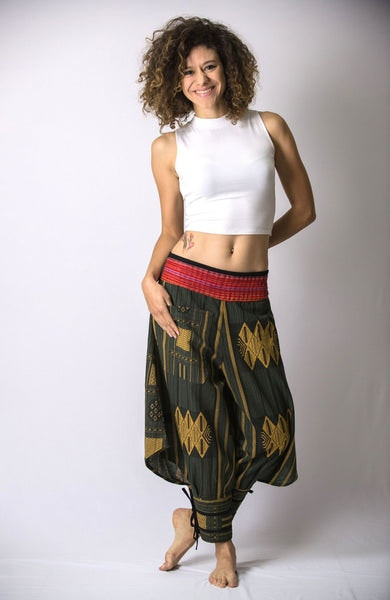 Thai Hill Tribe Fabric Women Harem Pants with Ankle Straps in Green