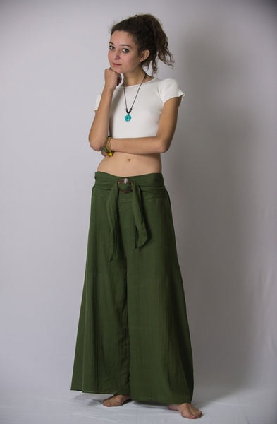 Women's Thai Harem Palazzo Pants in Solid Green