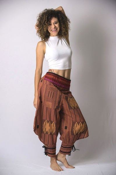 Thai Hill Tribe Fabric Women Harem Pants with Ankle Straps in Brick Orange