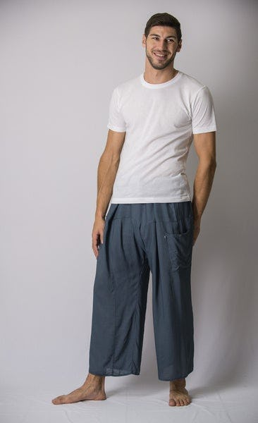 Unisex Thai Fisherman Pants in Blue Gray
