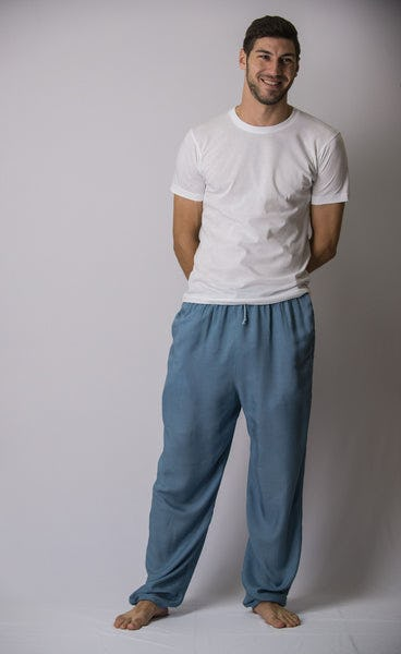 Solid Color Drawstring Men's Yoga Massage Pants in Blue Gray