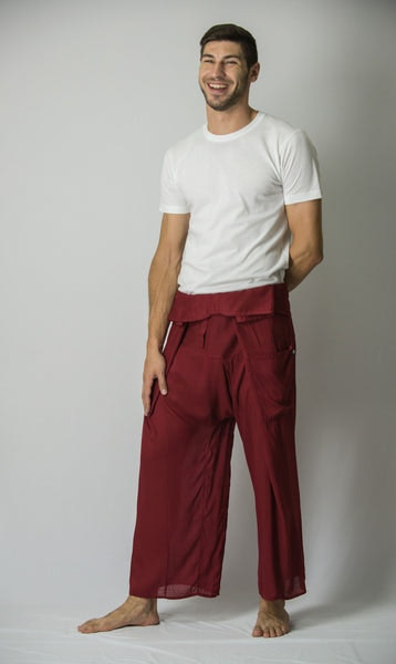 Unisex Thai Fisherman Pants in Burgundy