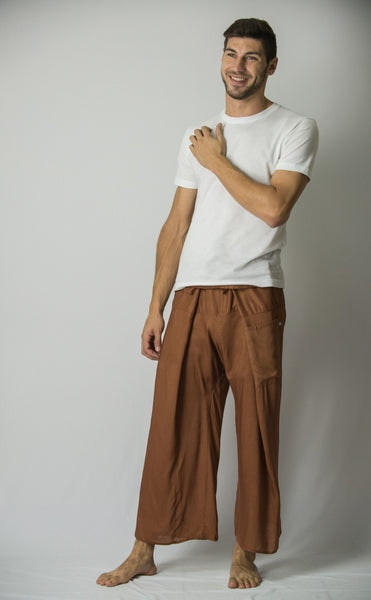 Unisex Thai Fisherman Pants in Brown