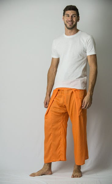 Unisex Thai Fisherman Pants in Orange