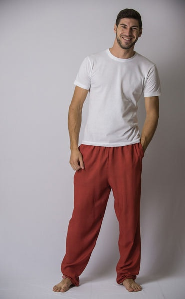 Solid Color Drawstring Men's Yoga Massage Pants in Red