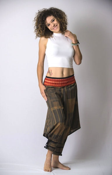 Thai Hill Tribe Fabric Women Harem Pants with Ankle Straps in Charcoal Gold