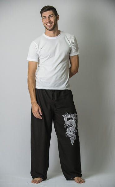 Dragon Men's Thai Yoga Pants in Black