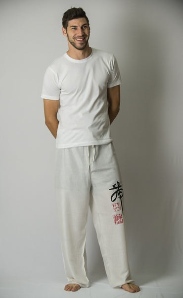 Chinese Writing Men's Thai Yoga Pants in White