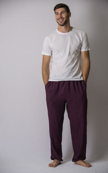 Solid Color Drawstring Men's Yoga Pants in Dark Purple