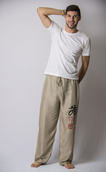 Chinese Writing Men's Thai Yoga Pants in Khaki